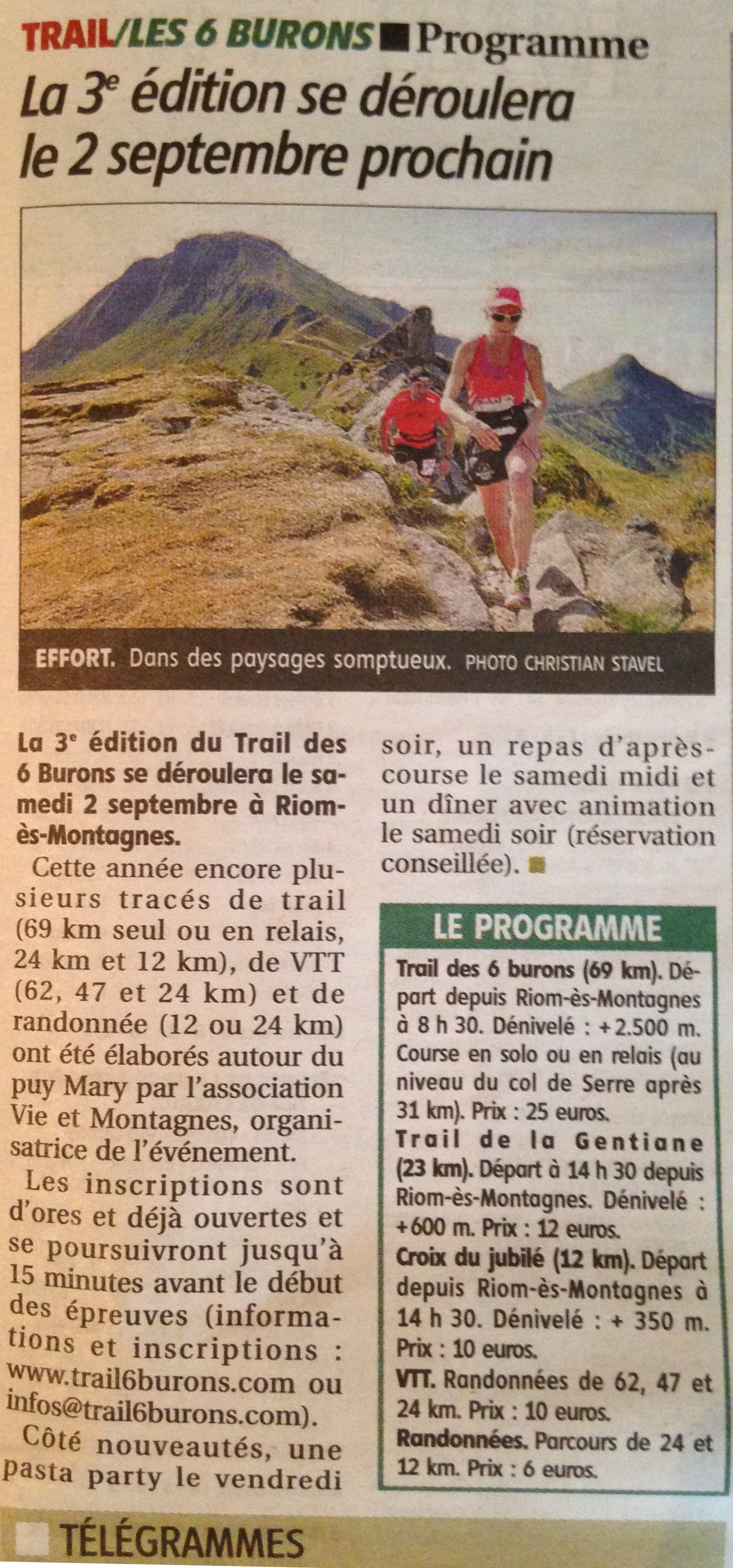 Le journal la montagne en parle trail des 6 burons - Le journal la montagne ...